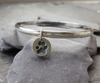 Solid Silver Bangle with Tiny Treasures charm